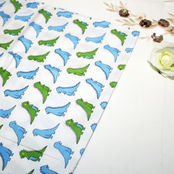 Little Dino White Cotton Printed