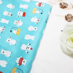 Polar Bear Blue Cotton Printed