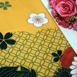 Yellow Base Flower Polycrepe Printed
