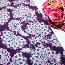 Purple Base Flower Polycrepe Printed