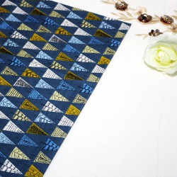 Triangle Tree Blue Cotton Printed