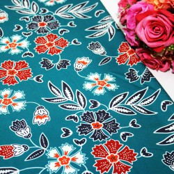 Blue & Red Flower Polycrepe Printed
