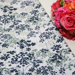 White Base Flower Polycrepe Printed
