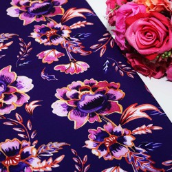 Purple Round Flower Polycrepe Printed
