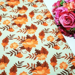 Orange Peach Polycrepe Printed