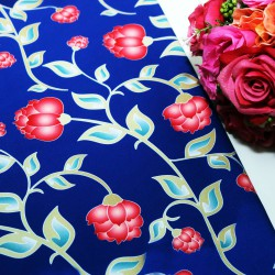Blue Base Rose Polycrepe Printed